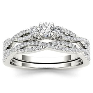 De Couer 14k White Gold 1/2ct TDW Diamond Three-Stone Anniversary Ring with One Band - White H-I