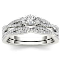 De Couer 14k White Gold 1/2ct TDW Diamond Three-Stone Anniversary Ring with One Band - White H-I