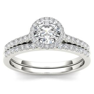 De Couer 14k White Gold 1ct TDW Diamond Halo Engagement Ring Set with One Band