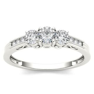 De Couer 14k White Gold 1/2ct TDW Diamond Three-Stone Ring (H-I, i2)