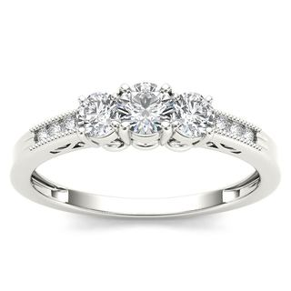De Couer 14k White Gold 1/2ct TDW Diamond Three-Stone Ring