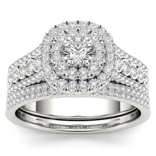 De Couer 10k White Gold 1ct TDW Diamond Double Halo Engagement Ring Set with One Band (H-I, I2)