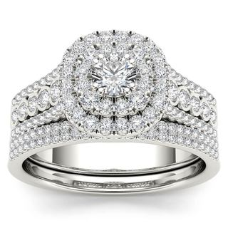 De Couer 10k White Gold 1ct TDW Diamond Double Halo Engagement Ring Set with One Band