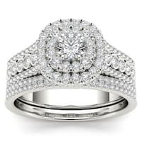 De Couer 10k White Gold 1ct TDW Diamond Double Halo Engagement Ring Set with One Band - White H-I