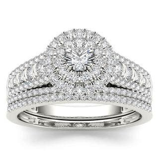 De Couer 10k White Gold 1ct TDW Diamond Double Halo Engagement Ring Set with One Band - White H-I https://ak1.ostkcdn.com/images/products/10375435/P17481479.jpg?impolicy=medium