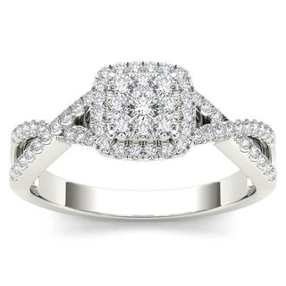 De Couer 10k White Gold 2/5ct TDW Diamond Halo Split Shank Engagement Ring