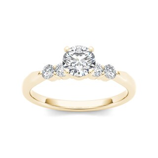 De Couer 14k Yellow Gold 1/2ct TDW Princess-cut Diamond Classic Engagement Ring (H-I, I2)