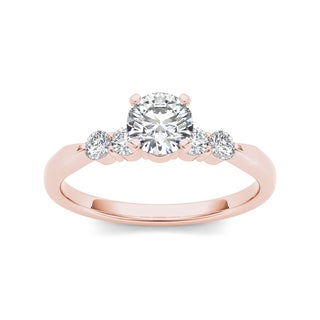 De Couer 14k Rose Gold 1/2ct TDW Princess-cut Diamond Classic Engagement Ring - Pink