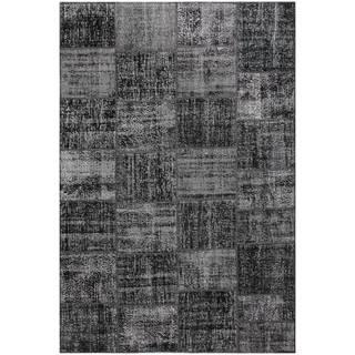 Vintage Patchwork Overdyed Black Wool Rug (6.7 x 9.11)