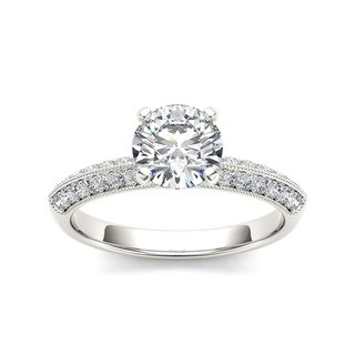 De Couer 14k White Gold 3/4ct TDW Solitaire Diamond Engagement Ring - White H-I