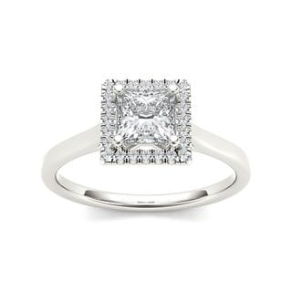 De Couer 14k White Gold 1ct TDW Princess Cut Solitaire Diamond Engagement Ring - White H-I
