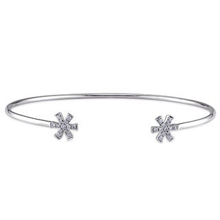 Miadora 14k White Gold 1/5ct TDW Diamond Star Bangle Bracelet (G-H,SI1-SI2)