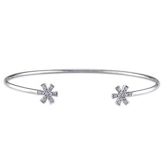 Miadora 14k White Gold 1/5ct TDW Diamond Star Bangle Bracelet