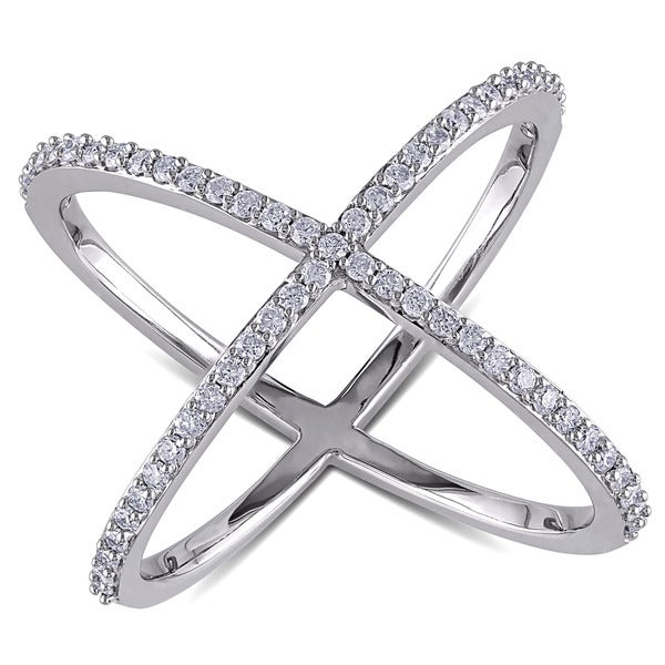 Miadora 14k White Gold 3 8ct TDW Diamond X Ring Free Shipping