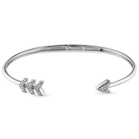 Miadora Silver 1/10ct TDW Diamond Arrow Open Bangle Bracelet - White