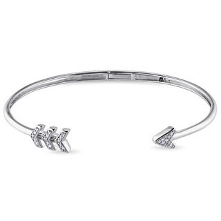 Miadora Silver 1/10ct TDW Diamond Arrow Open Bangle Bracelet (G-H, I2-I3)