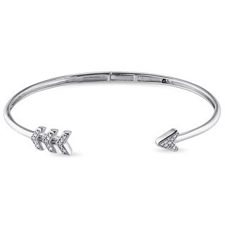 Miadora Silver 1/10ct TDW Diamond Arrow Open Bangle Bracelet