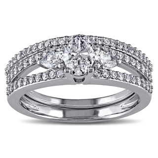 Miadora Signature Collection 14k White Gold 1 1/10ct TDW Certified Diamond Bridal Ring Set (G-H, I1-I2)