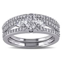 Miadora Signature Collection 14k White Gold 1 1/10ct TDW Certified Diamond Bridal Ring Set