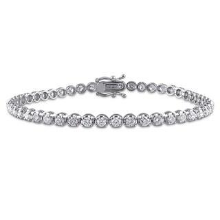 Miadora 14k White Gold 3ct TDW Diamond Bracelet