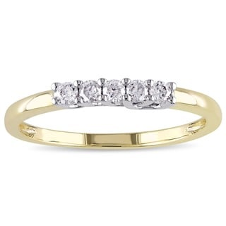 Miadora 10k Yellow and White Gold 1/6ct TDW Diamond Ring