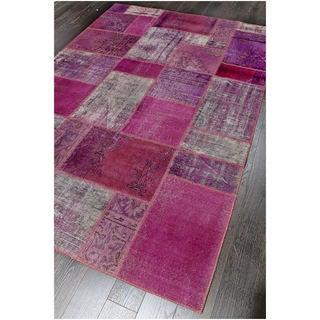 Vintage Patchwork Overdyed Purple Wool Rug (6.10' x 9.11')