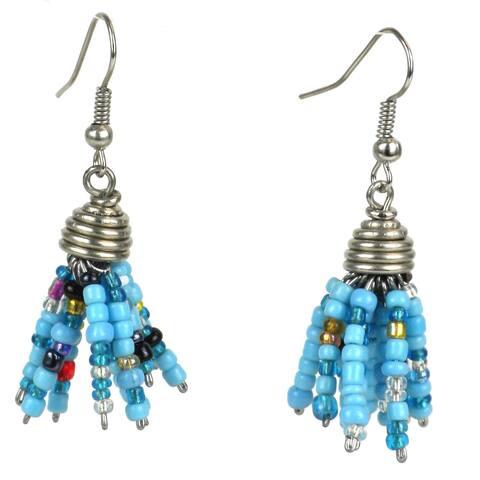 Handmade Blue Maasai Beaded Spike Earrings (Kenya)