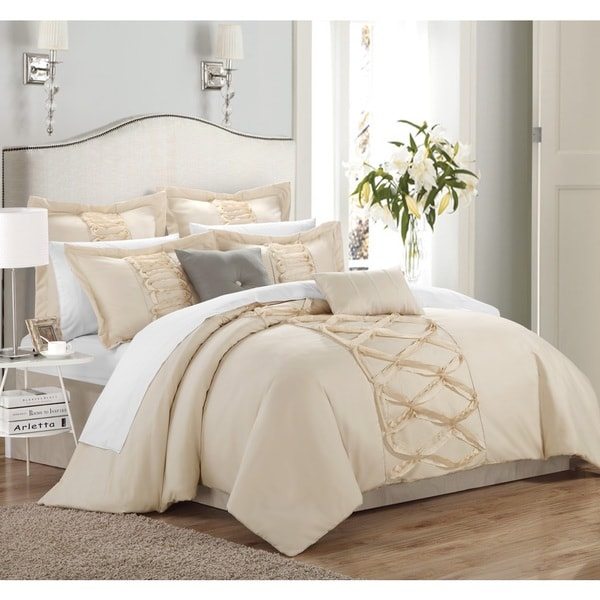 chic home nancy 8 piece ruffled comforter set free