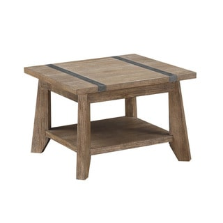 Viewpoint Planktop Oak and Metal Square End Table