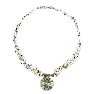 Handmade Single Spiral 'Elegance' Braided White Bead Necklace (Kenya)
