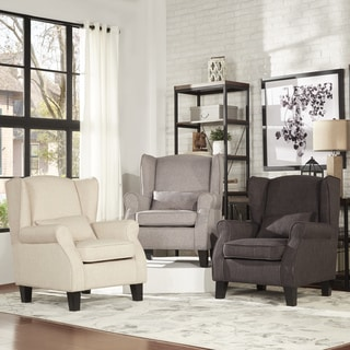 TRIBECCA HOME Hayes Wingback Linen Chair with Pillow
