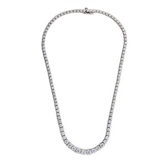 Suzy Levian 14K Gold Riviera 11.35ct TDW Diamond Necklace (G, SI1) - White