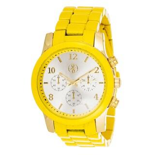 Fortune NYC Boyfriend Gold Case / Red Matte Strap Watch