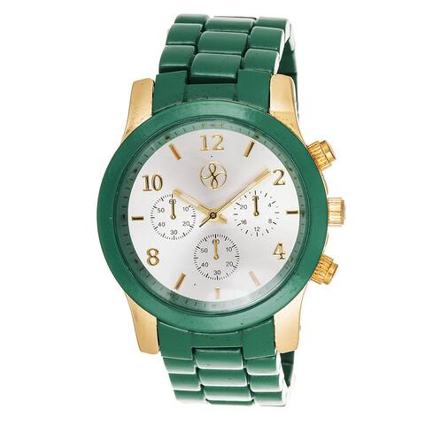 Fortune NYC Boyfriend Gold Case / Green Matte Strap Watch