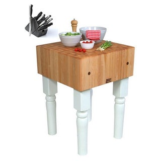 John Boos AB01 Alabaster Butcher Block 18 x 18 Table and Henckels 13-piece Knife Block Set