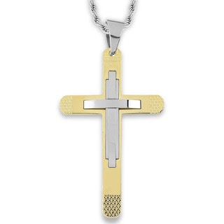Men's Goldplated Stainless Steel Layer Cross Pendant