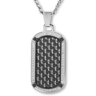 Crucible Stainless Steel Carbon Fiber with Cubic Zirconia Dog Tag Pendant