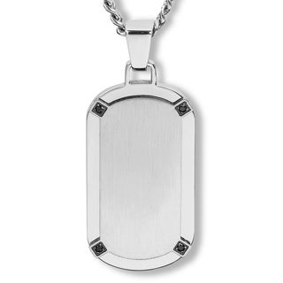 Crucible Stainless Steel Brushed Finished Center with Cubic Zirconia Dog Tag Pendant