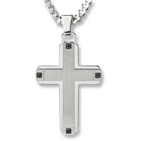 Crucible Stainless Steel Brushed Finished Center with Cubic Zirconia Cross Pendant