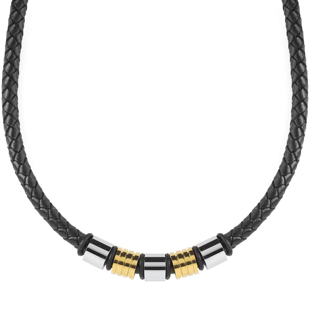 HAMANY Mens Womens Necklace Genuine Leather Cord Rope Stainless Steel Clasp Black 18-30 Inch