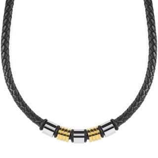Crucible Two-Tone Stainless Steel Braided Leather Beaded Necklace