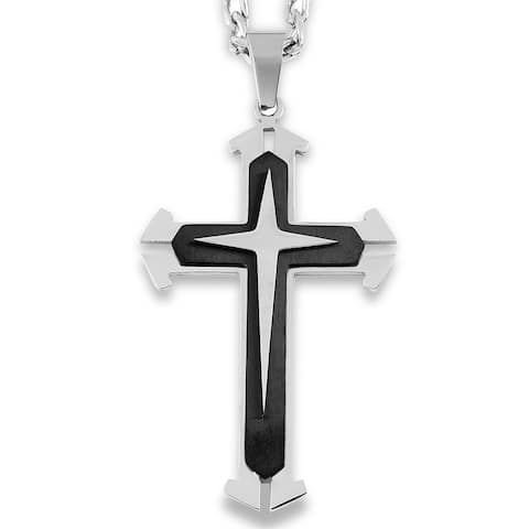 Men's Two-Tone Stainless Steel Wide Flare Layer Cross Pendant
