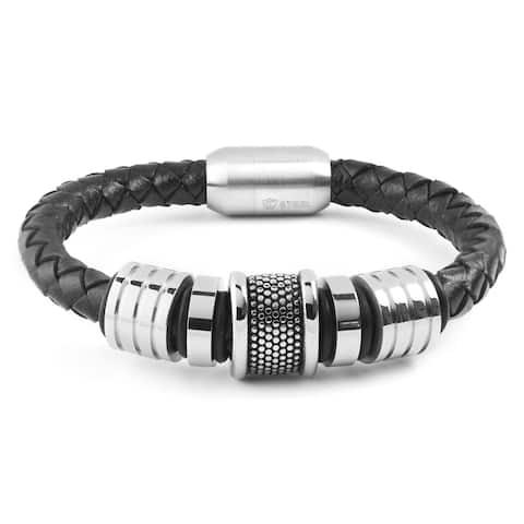 Crucible Stainless Steel Grooved Beaded Black Braided Leather Bracelet