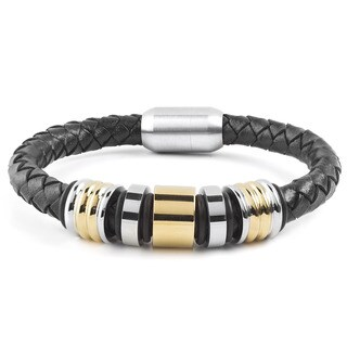 Crucible Two-Tone Stainless Steel Grooved Beaded Black Braided Leather Bracelet
