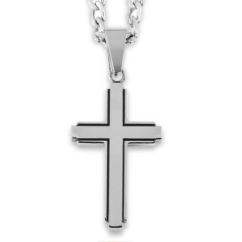 Stainless Steel Black Inlay Cut-out Cross Pendant