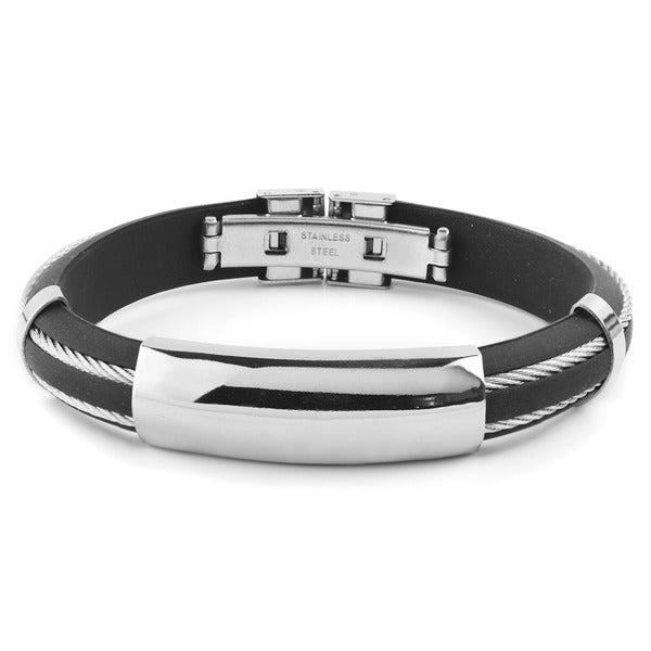 d28b106933f91 Shop Men's Stainless Steel Cable Inlay Curved Rubber ID Bracelet ...