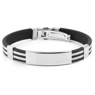 Men's Stainless Steel ID with Striped Rubber Bracelet