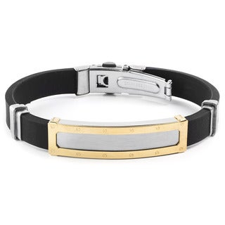 Men's Goldtone Two-Tone Stainless Steel ID Rubber Bracelet