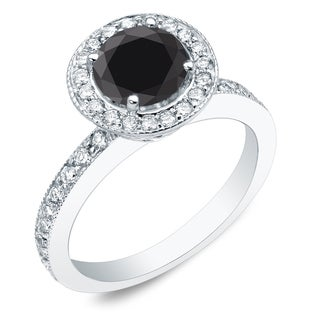 Auriya 14k Gold 1ct TDW Round Cut Black Diamond Engagement Ring