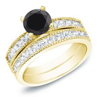 Auriya 14k Gold 2ct TDW Round Black and White Diamond Engagement Ring Set